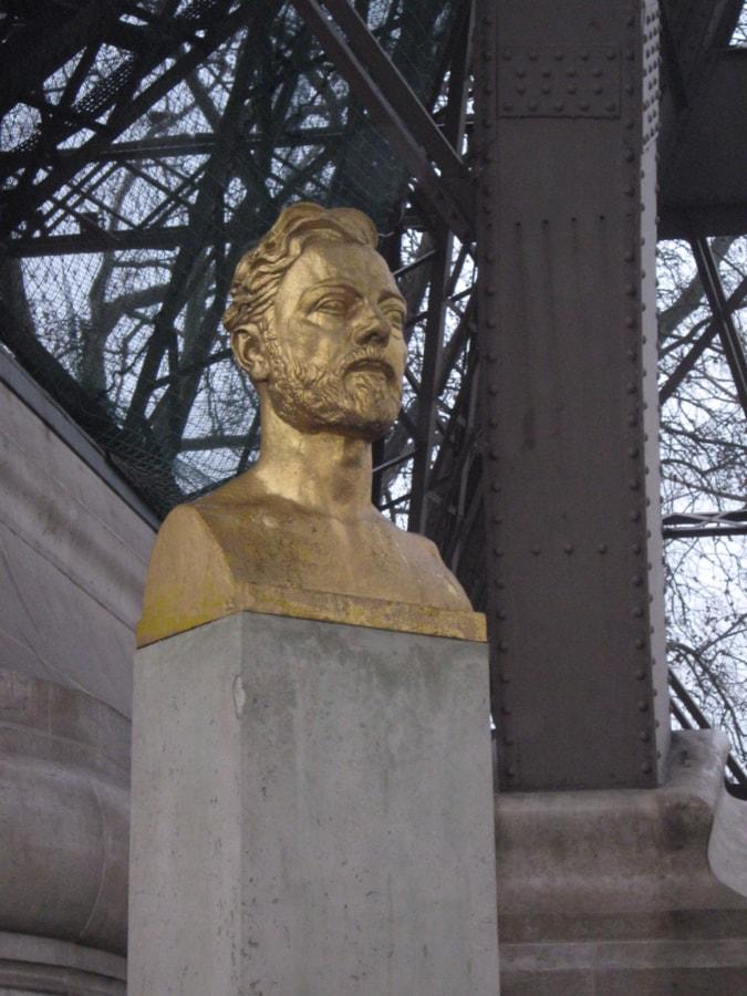 Busta, Francie, zlato, kámen, památník, sochařství, socha, sloupec