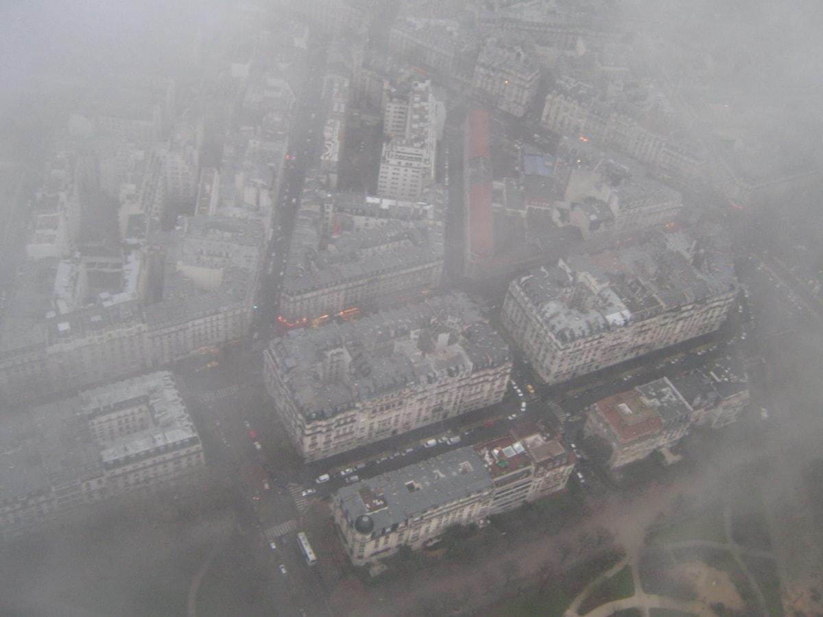 град, в центъра, Франция, прелитане, панорама, архитектура, път, промишленост