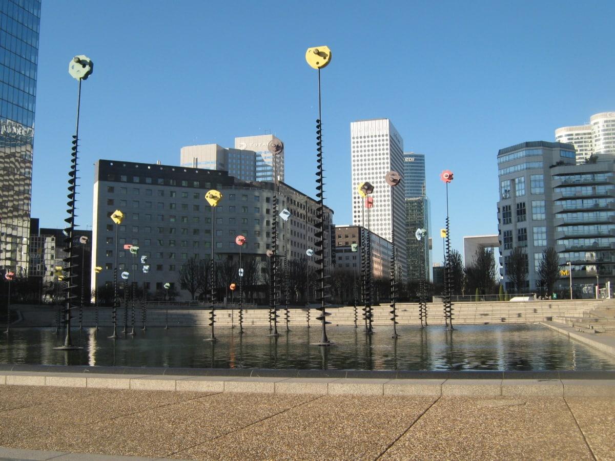 fonte, edifício, arquitetura, urbana, arranha-céu, cidade, linha do horizonte, edifícios