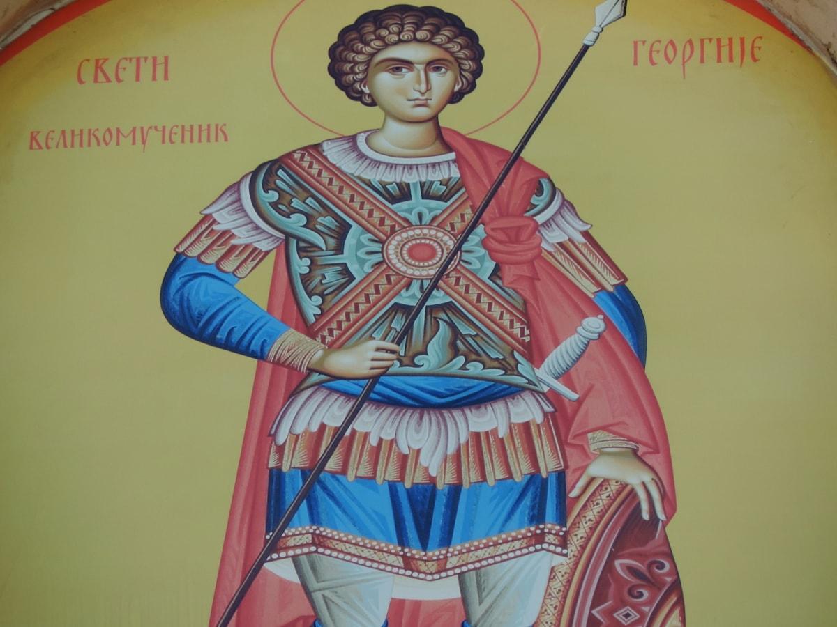 Византийски, православна, Свети, Сърбия, изкуство, илюстрация, традиционни, религия