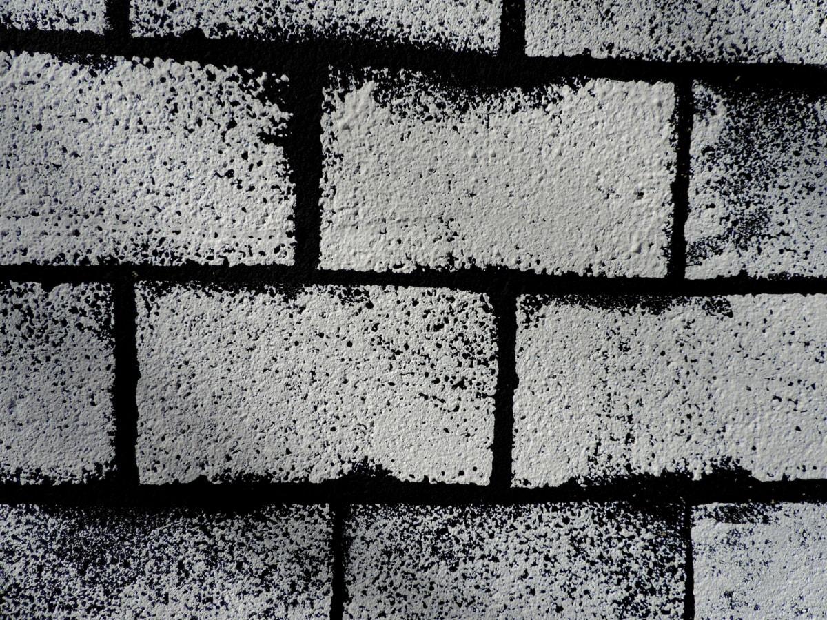 crno i bijelo, kocka, cigla, beton, cementa, urbano, stari, tekstura