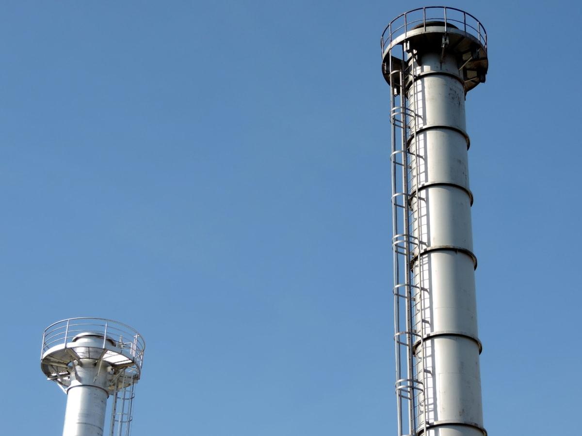 skorstein, fabrikk, gasskilde, raffineriet, teknologi, tårnet, industri, rør