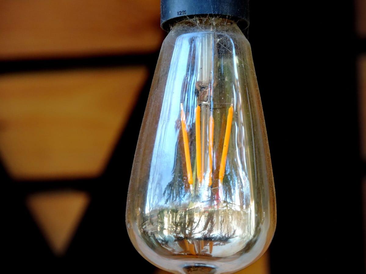 detalle, electricidad, bombilla de luz, moderno, tecnología, transparente, vidrio, Lámpara