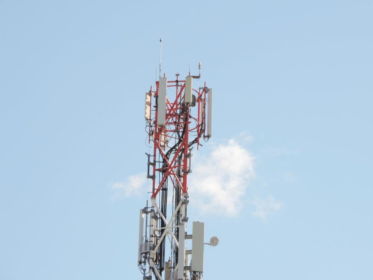 Free picture: blue sky, construction, radio antenna, radio