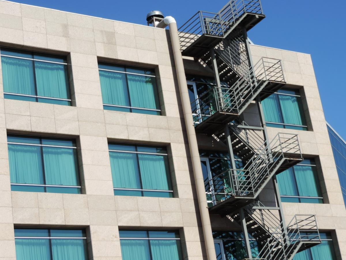 futurista, escadaria, edifício, arquitetura, janela, moderna, negócios, fachada