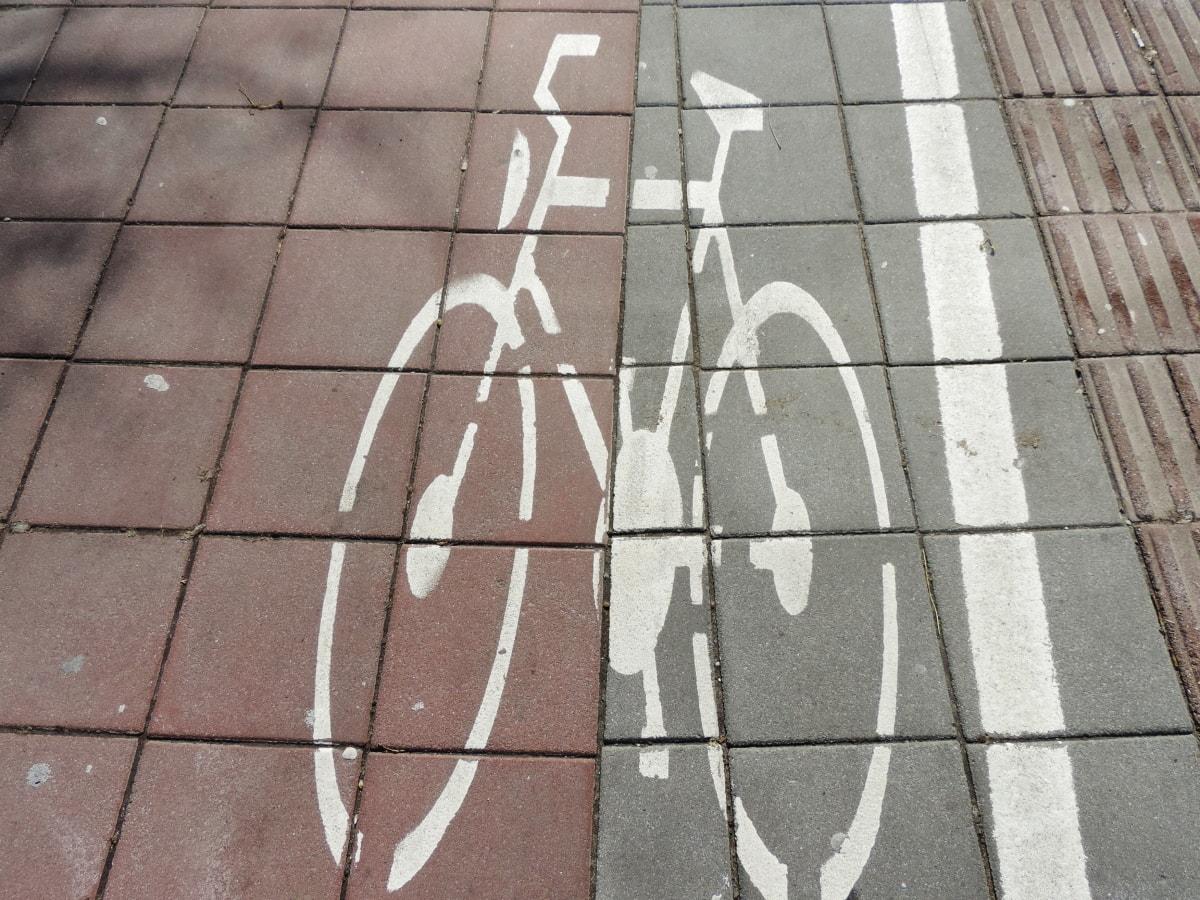 jízda na kole, podepsat, textura, vedle sebe, chodník, dlažba, zeď, městský