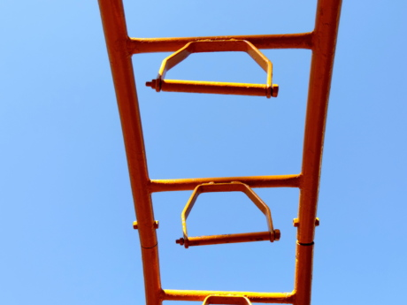 blue sky, metal, playground, empty, outdoors, safety, plastic, recreation