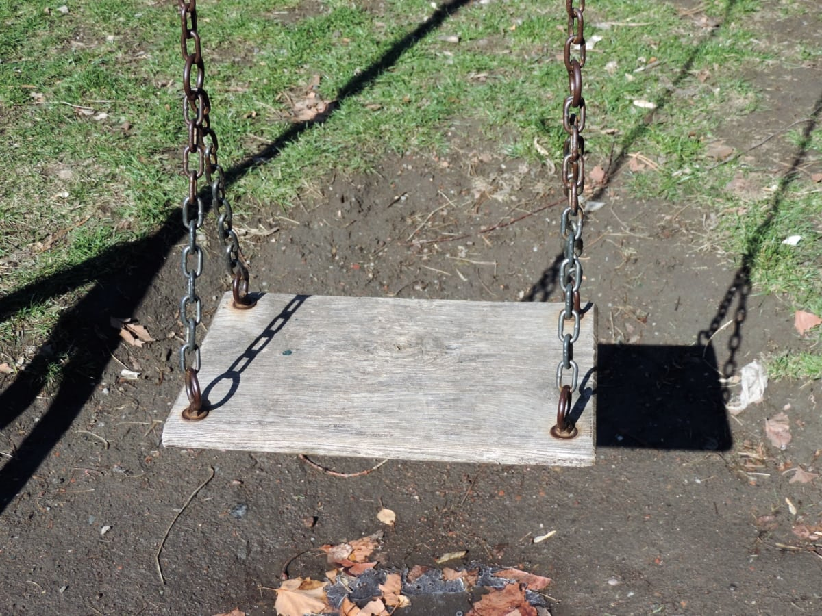 fun, playground, swing, tree, wood, outdoors, nature, leaf