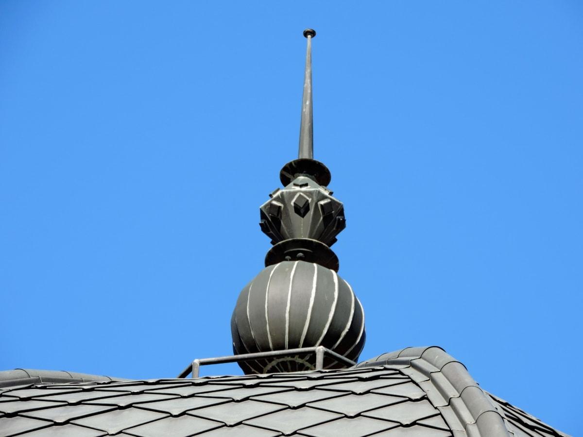 barokový, mosadz, dekorácie, ručná práca, staré, strecha, budova, dome