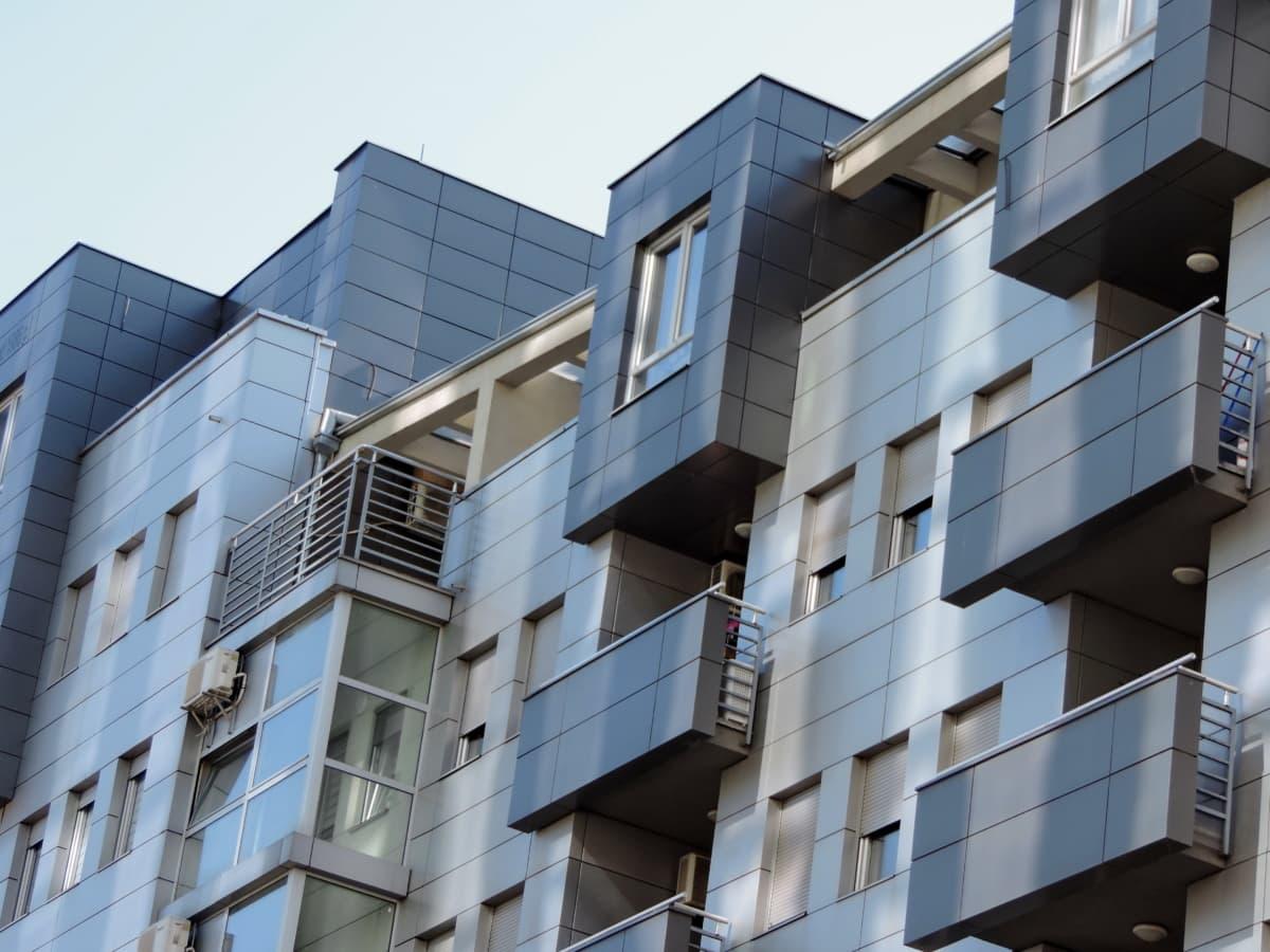 modrá, futuristické, mesto, Urban, balkón, budova, Architektúra, okno