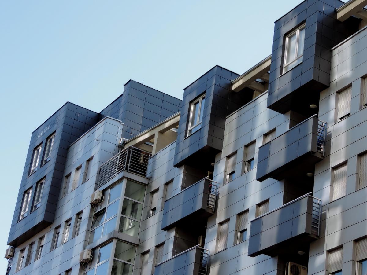 blue, facade, modern, building, apartment, balcony, urban, city