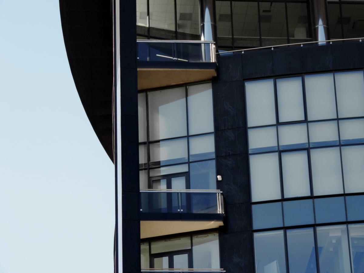balkon, futuristički, moderne, zgrada, prozor, arhitektura, odraz, grad