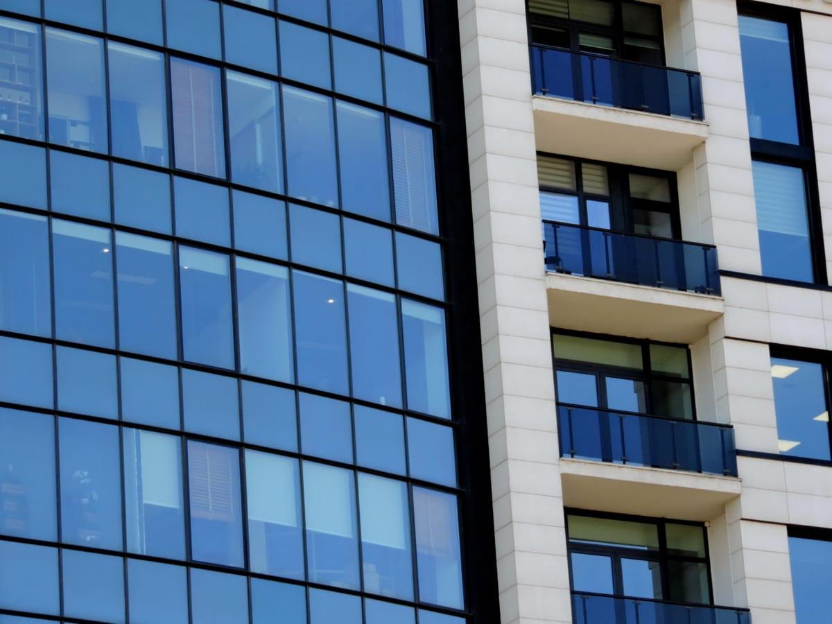 arkitektur, balkong, futuristiska, lyx, moderna, fasad, kontor, fönster