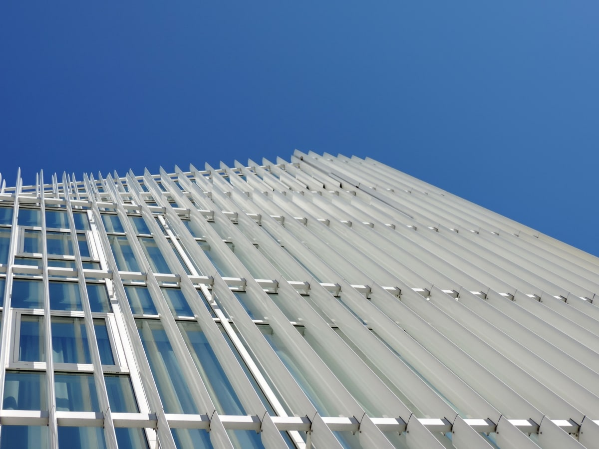 geometriske, moderne, perspektiv, skyskraber, urban, city, arkitektur, bygning