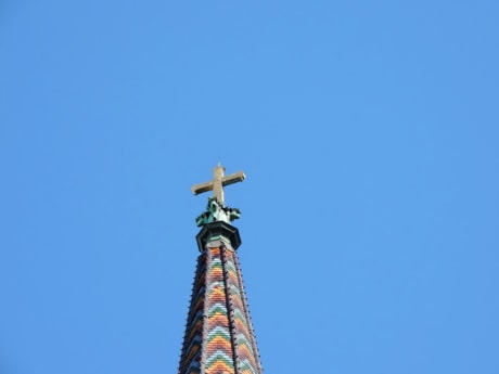 church tower, cross, architecture, tower, outdoors, blue sky, high, religion