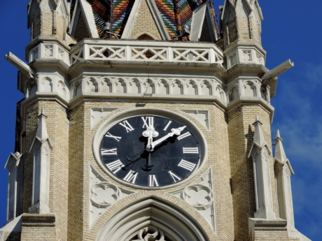 analog clock, cathedral, catholic, church tower, Gothic, landmark, architecture, tower
