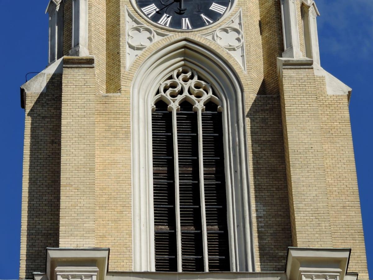 architektura, kostel, budova, fasáda, náboženství, venku, okno, věž