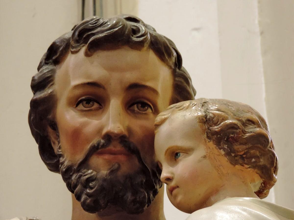 bébé, homme, religieux, sculpture, couvrant, gens, Portrait, art
