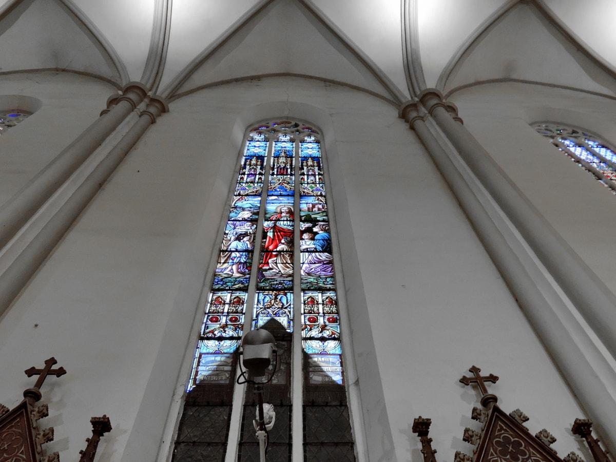Cathédrale, Église, Création de, fenêtre, architecture, religion, toit, verre souillé