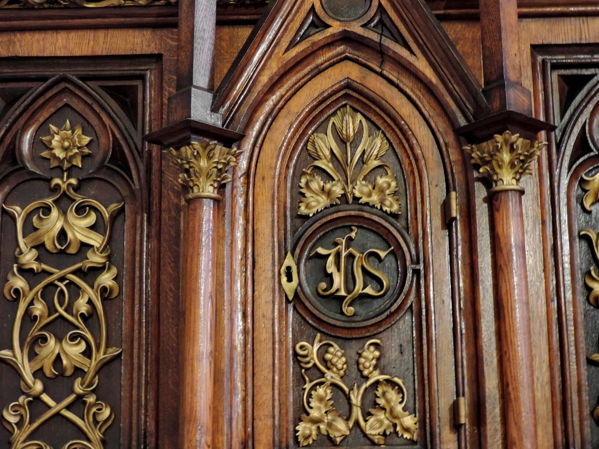 mezbah, Katolik, Mebel, buatan tangan, kayu, Oak, ukiran, patung
