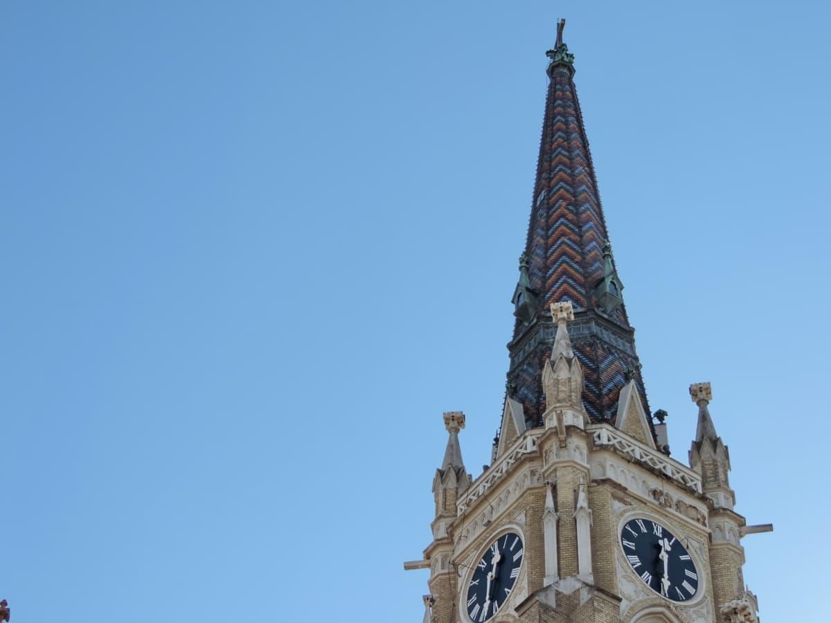 blå himmel, katolske, kirketårnet, tårn, der dækker, arkitektur, ur, vartegn