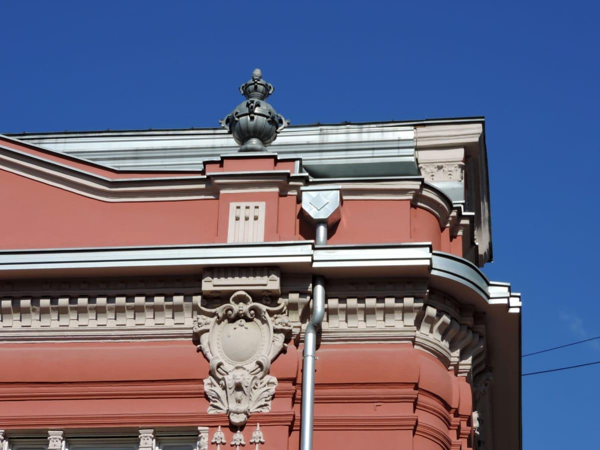 μπαρόκ, γωνία, διακόσμηση, στον τελευταίο όροφο, κτίριο, αρχιτεκτονική, σε εξωτερικούς χώρους, πόλη