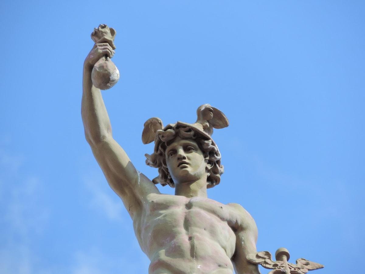 konst, blå himmel, brons, byst, bildkonst, skulptur, monumentet, staty