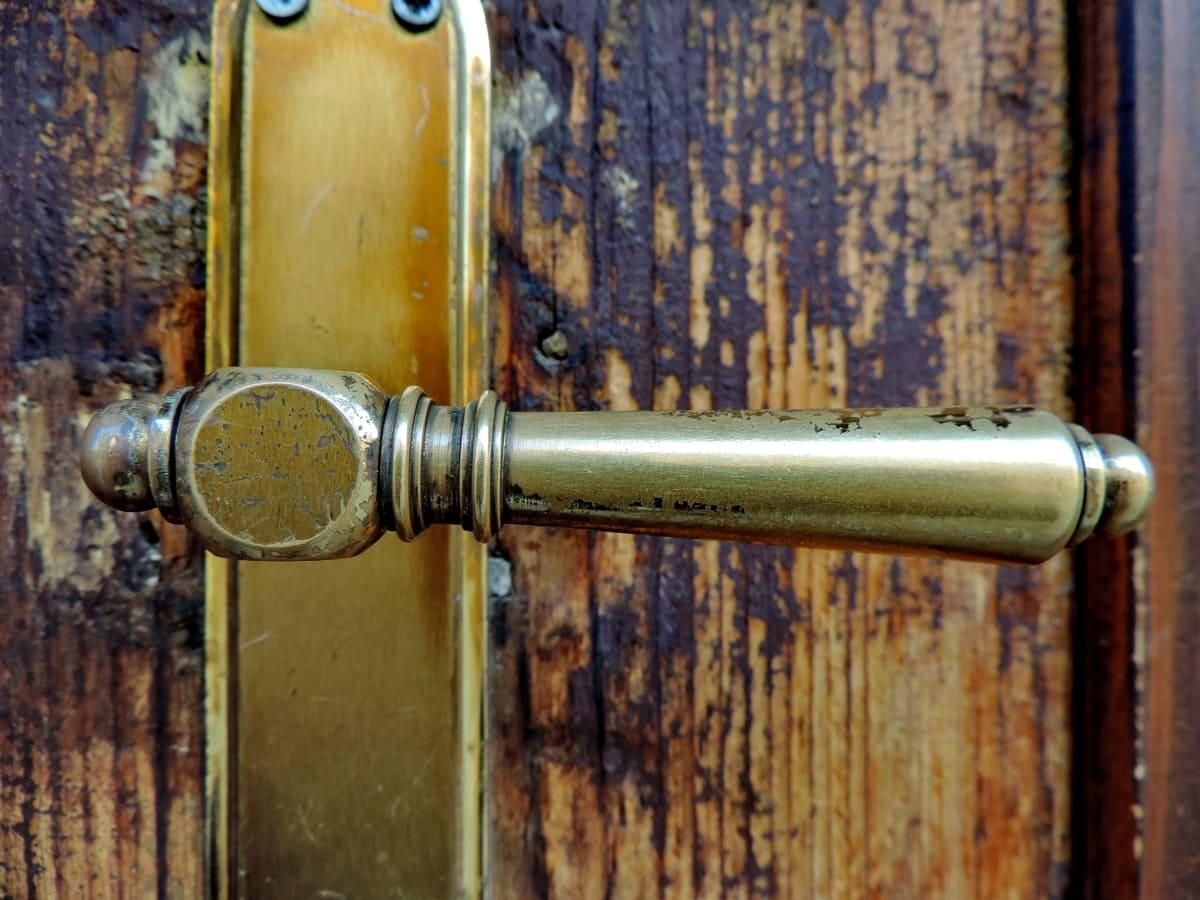 Güvenlik, aygıt, mandal, raptiye, kapı, eski, ahşap, giriş