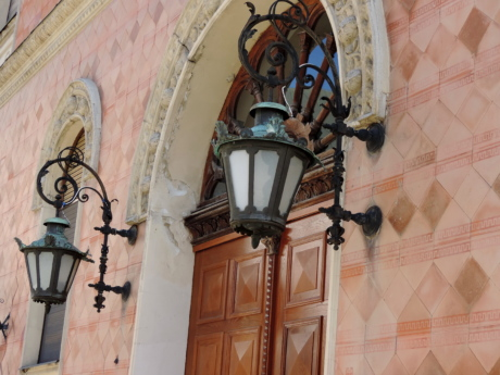 cast iron, front door, lamp, architecture, building, old, decoration, design