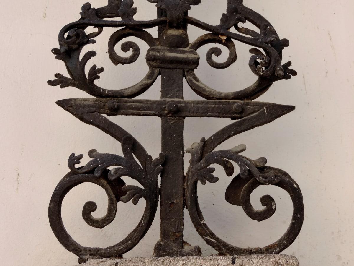 arabeska, lijevano željezo, dekoracija, starinsko, željezo, stari, drevno, arhitektura