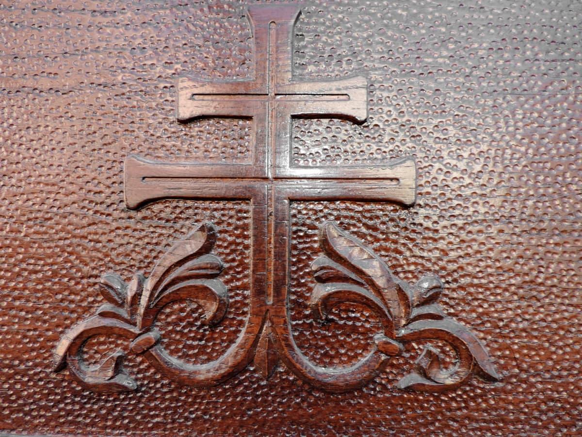Arabesque, σκάλισμα, χριστιανική, Χριστιανισμός, μασίφ ξύλο, Δρυς, σύμβολο, συμμετρία