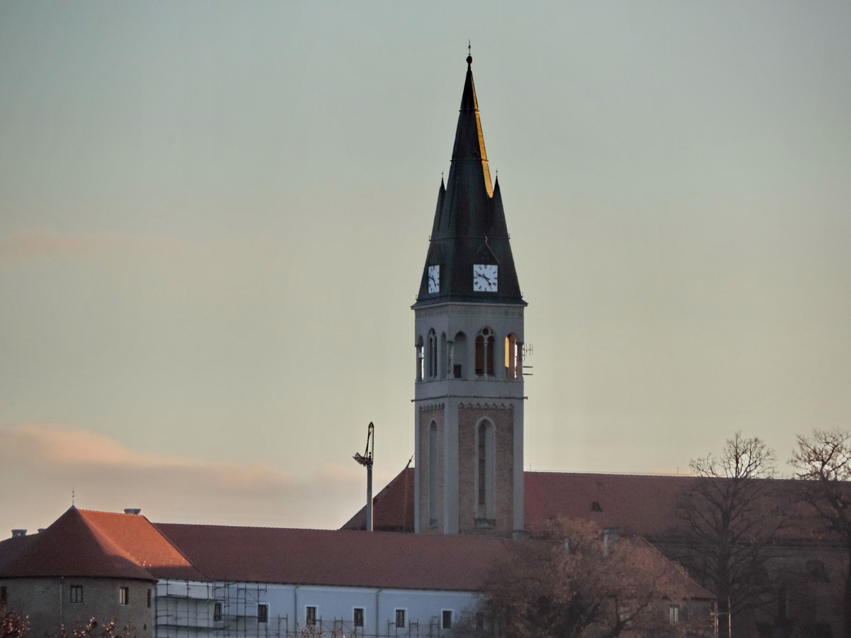 church tower, Croatia, downtown, sunset, building, tower, church, cathedral
