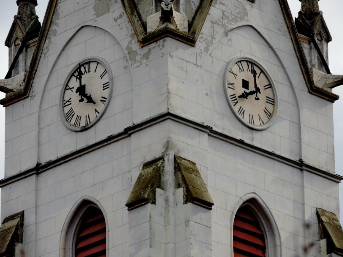 катедрала, католическа, Църквата кула, аналогов часовник, показалец, сграда, стар, часовник