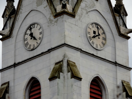 cathedral, catholic, church tower, analog clock, pointer, building, old, clock
