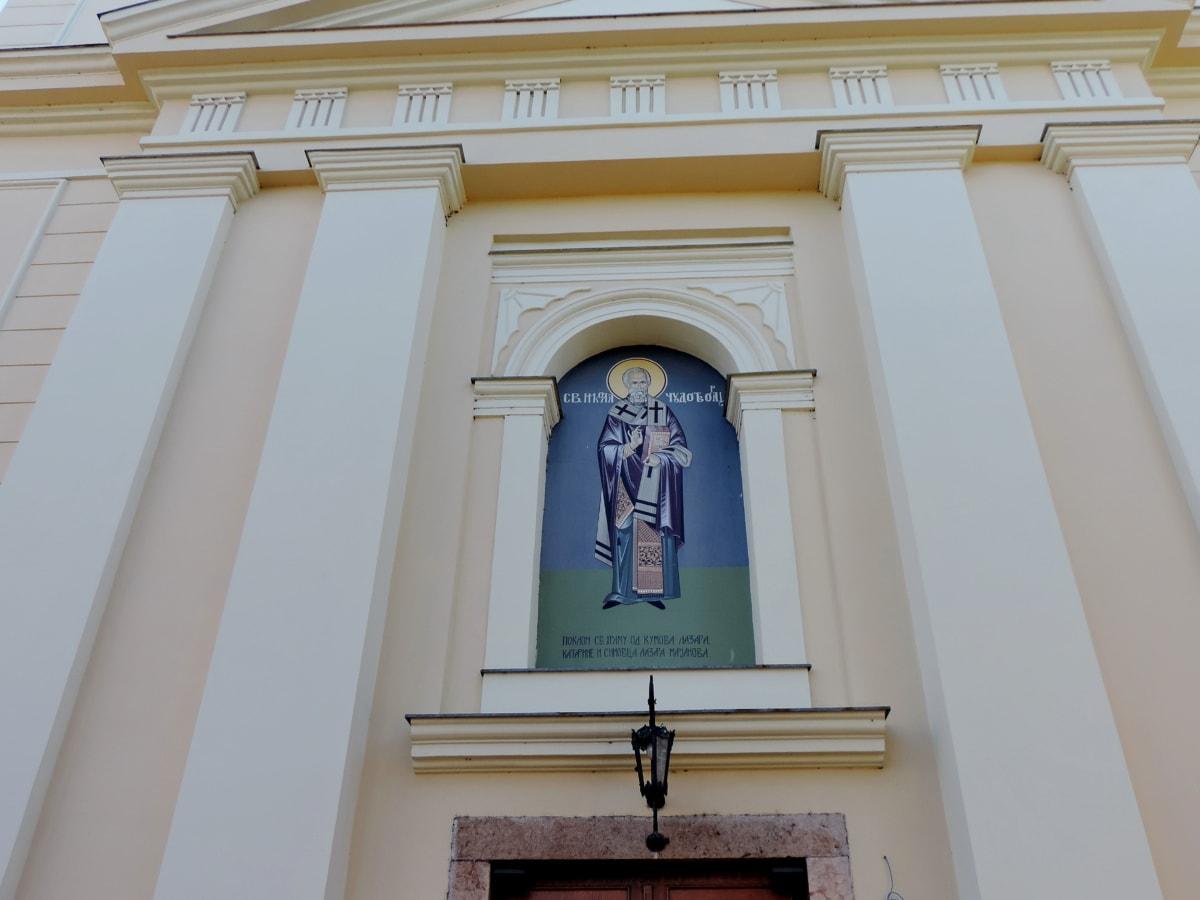 umění, kostel, budova, fasáda, architektura, venku, město, denní světlo