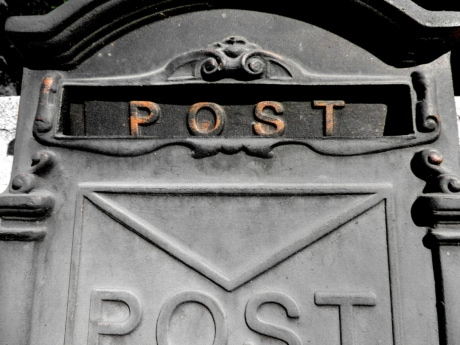 mail, mail slot, mailbox, message, text, old, iron, steel
