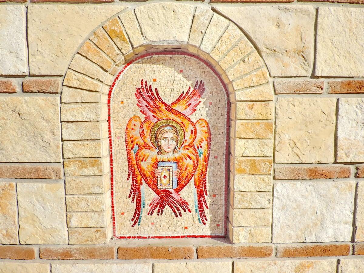 Άγγελος, φωτιά, τοίχου, κεραμίδι, αρχιτεκτονική, παλιά, πέτρα, θρησκεία