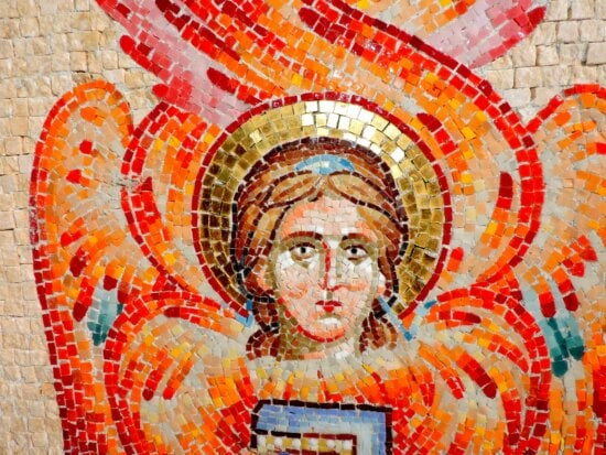angel, christianity, face, fire, symbol, wing, worship, mosaic
