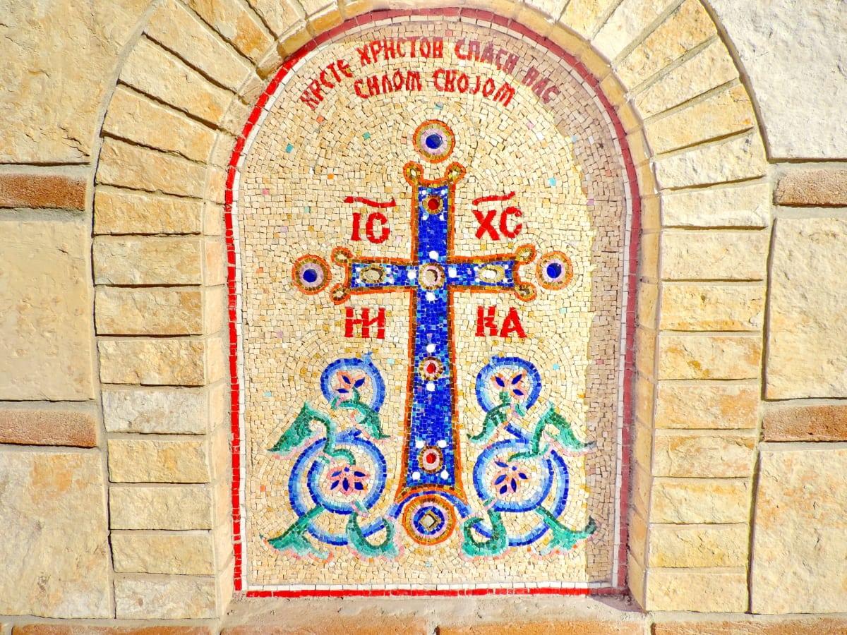mozaika, prawosławny, ulga, religia, ściana, stary, architektura, antyk