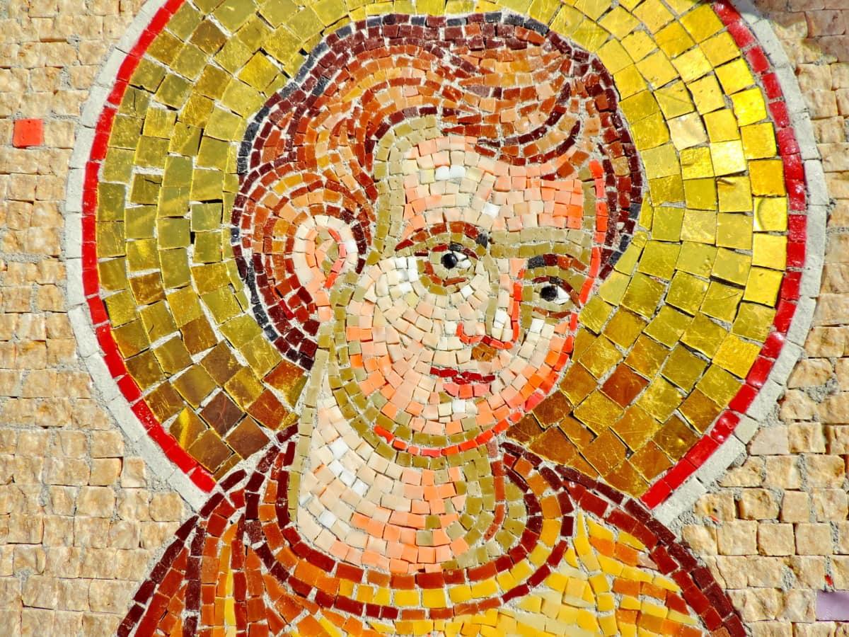 dijete, Krist, kršćanstvo, sveti, mozaik, umjetnost, zid, kultura