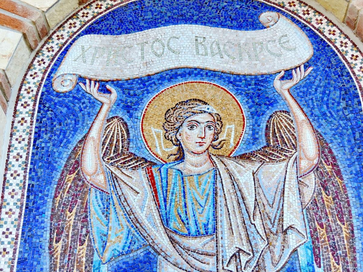enkeli, maalaus, kirkko, uskonto, pyhimys, taide, mosaiikki, sisustus