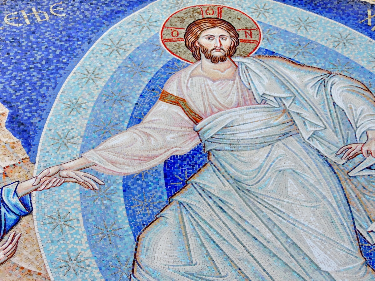 Krist, Raj, sveti, umjetnost, religija, slika, mozaik, ilustracija