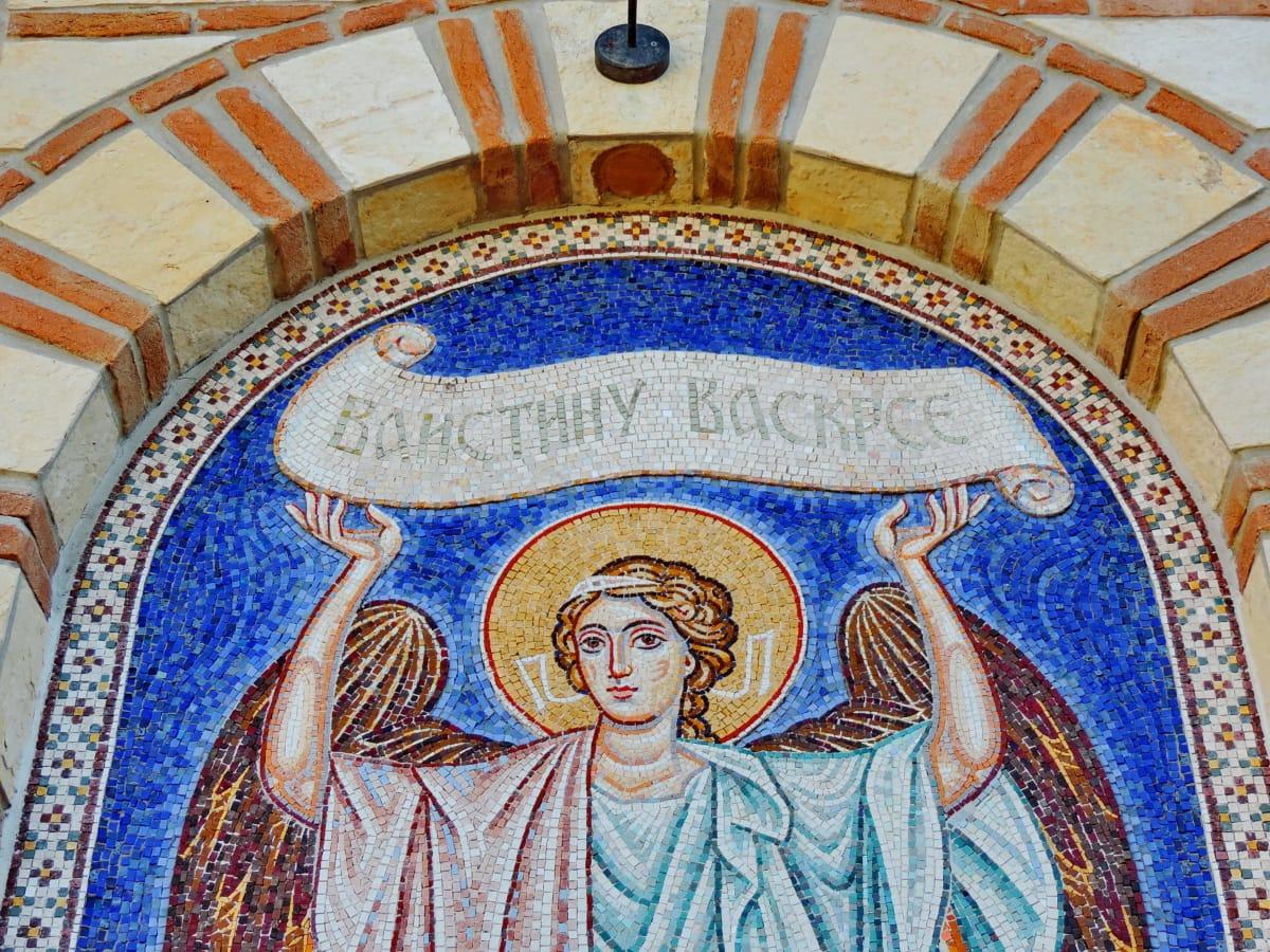 angel, religion, painting, art, saint, mosaic, church, interior