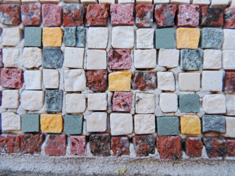 decoration, mosaic, old, pattern, wall, surface, stone, concrete