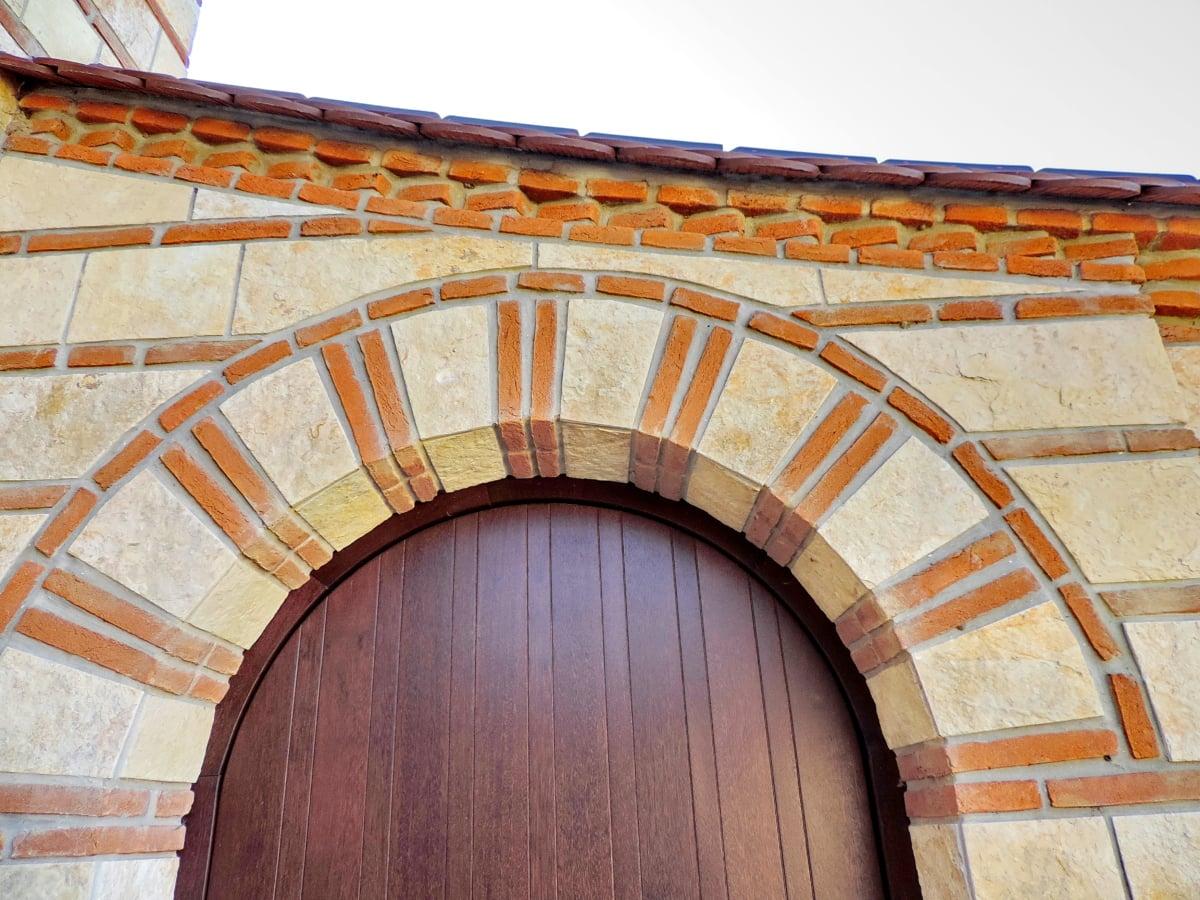 входната врата, покрив, архитектура, сграда, структура, стена, стар, арка