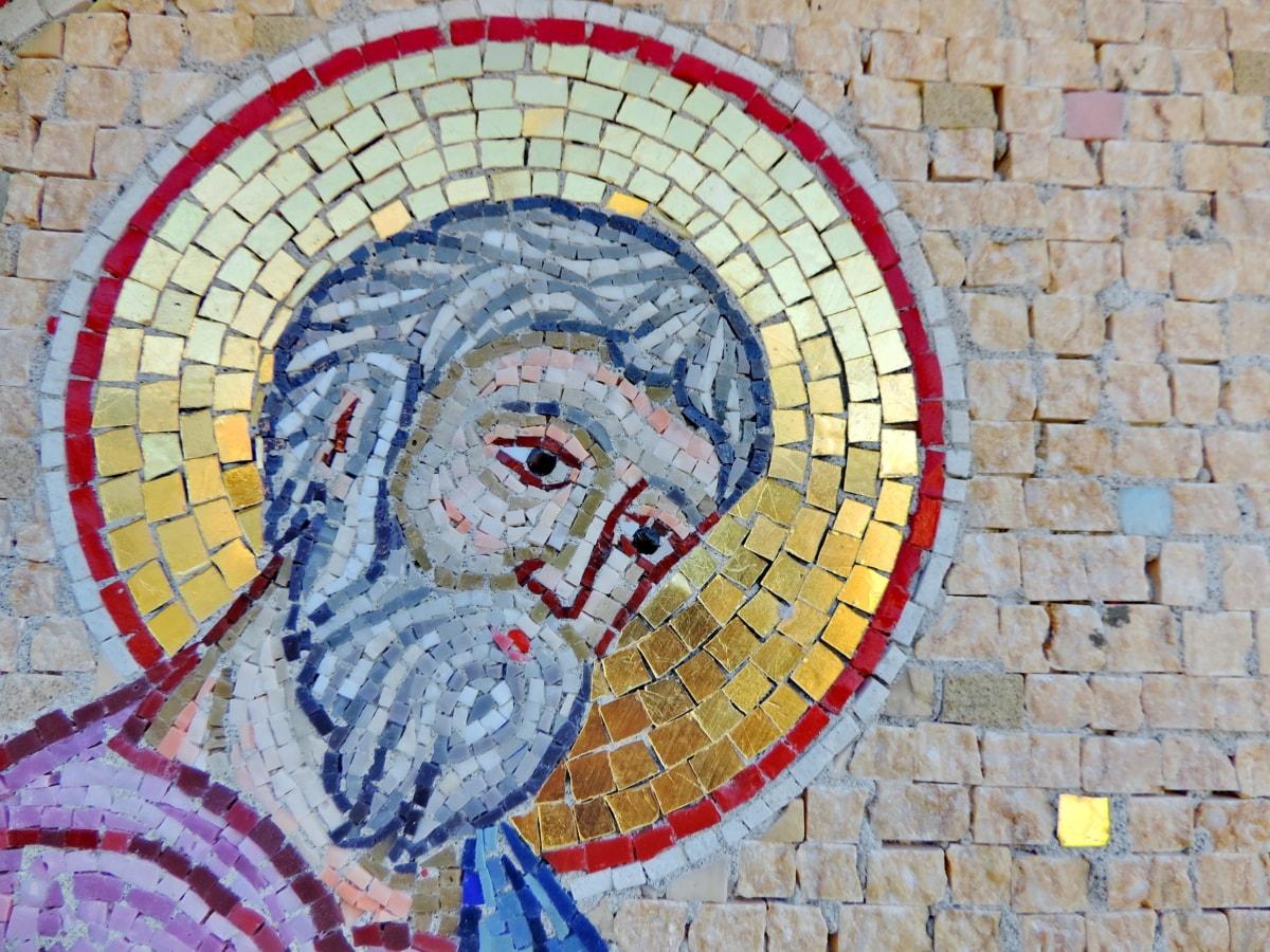 kristendom, helgen, vegg, mosaikk, murstein, gamle, tekstur, kunst
