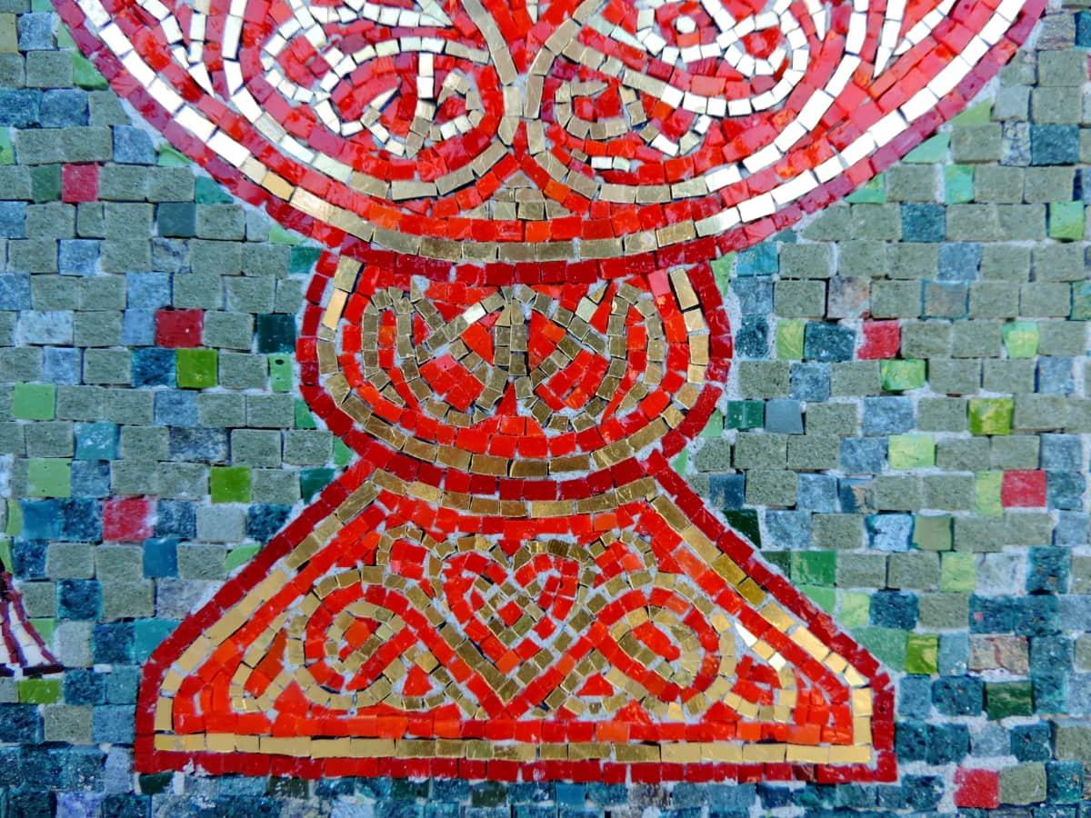 Арабеск, ръчно изработени, Украшение, декоративни, червен, мозайка, модел, изкуство