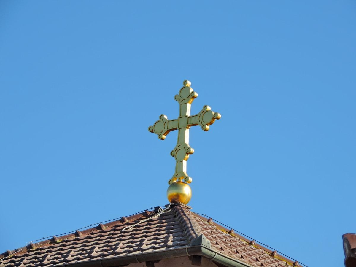 edifício, Igreja, religião, arquitetura, telhado, ao ar livre, Cruz, luz do dia