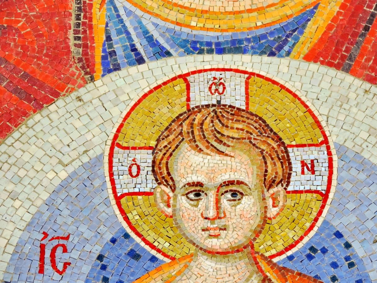 dijete, kršćanstvo, mozaik, umjetnost, stari, kultura, zid, slika