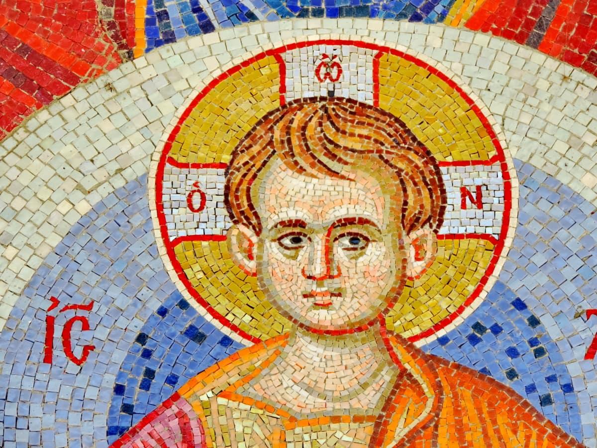 子, キリスト, キリスト教, モザイク, サン, アート, 古い, wall